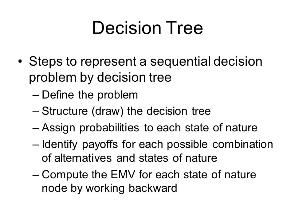 Decision Tree Steps to represent a sequential decision problem by decision tree. Define the problem.