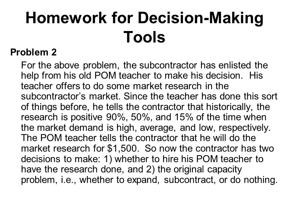 Homework for Decision-Making Tools