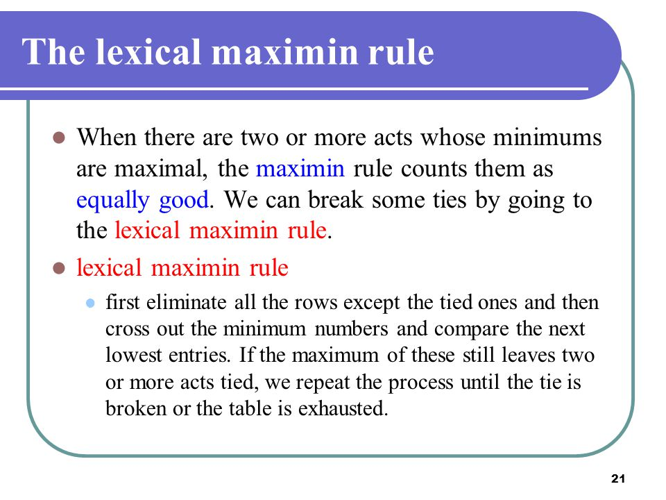 The lexical maximin rule