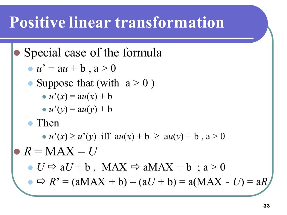 Positive linear transformation