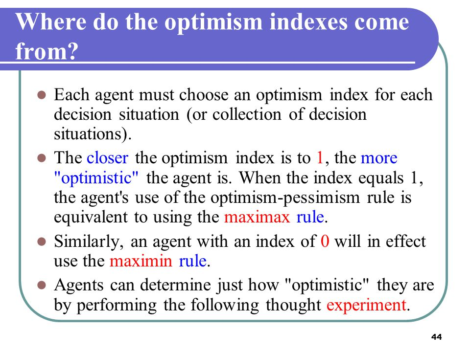 Where do the optimism indexes come from