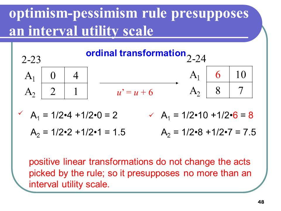 optimism-pessimism rule presupposes an interval utility scale