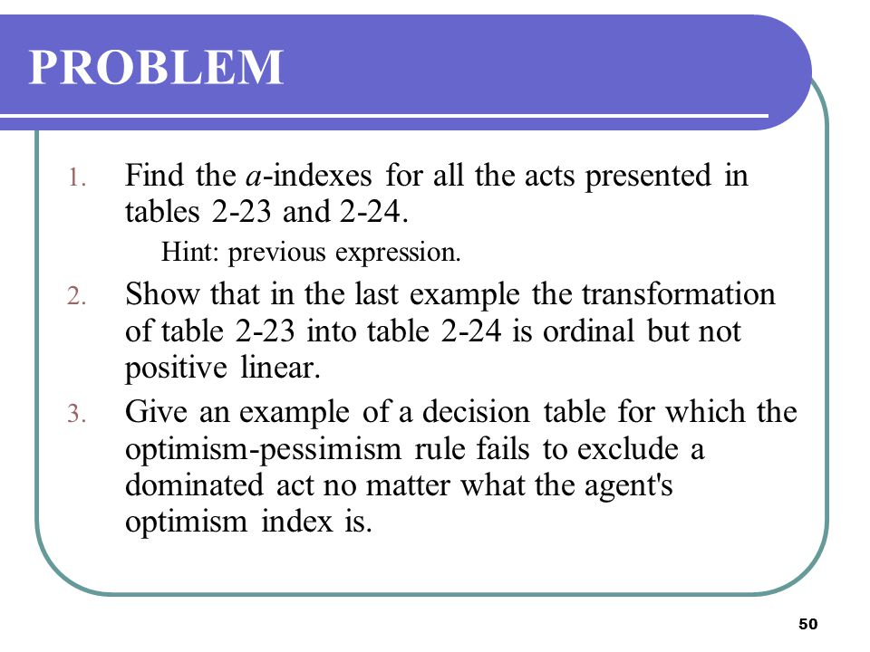 PROBLEM Find the a-indexes for all the acts presented in tables 2-23 and 2-24. Hint: previous expression.