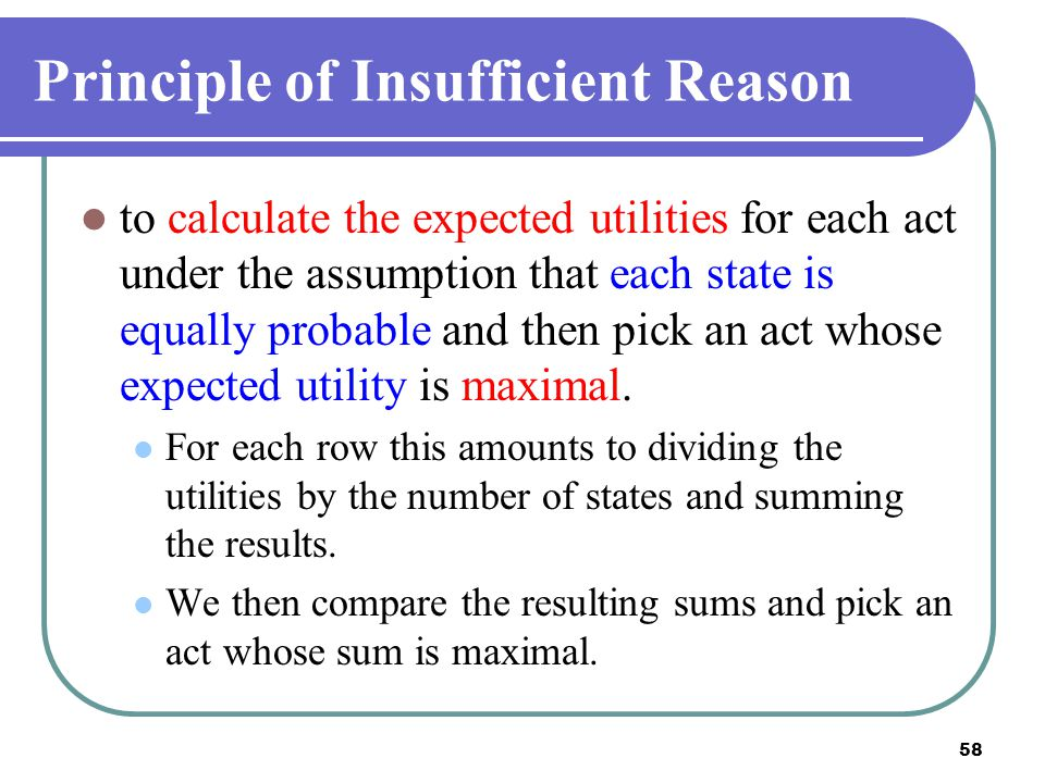 Principle of Insufficient Reason
