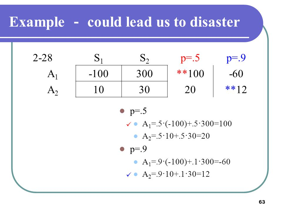 Example - could lead us to disaster