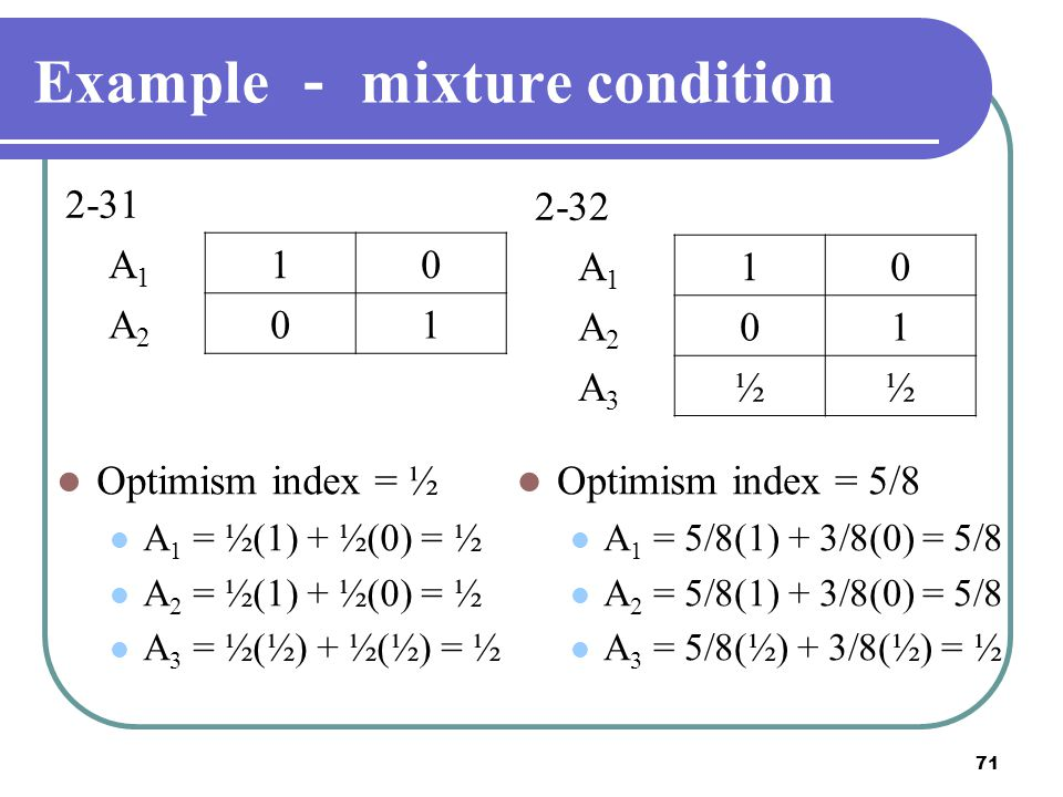 Example - mixture condition