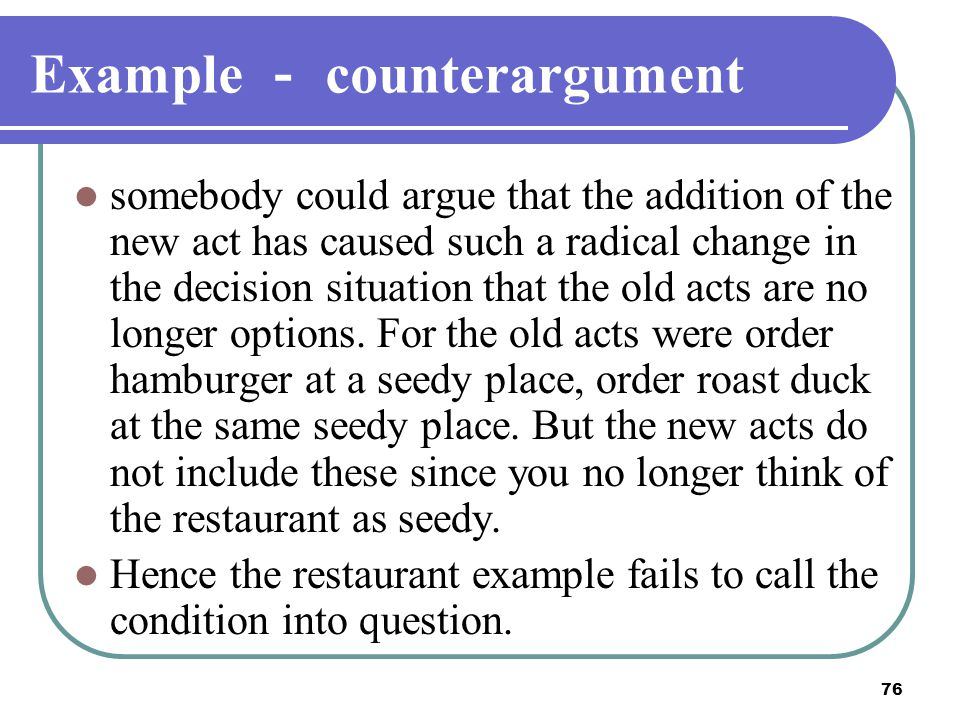 Example - counterargument
