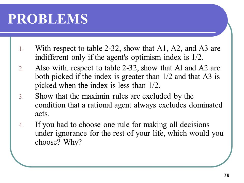 PROBLEMS With respect to table 2-32, show that A1, A2, and A3 are indifferent only if the agent s optimism index is 1/2.