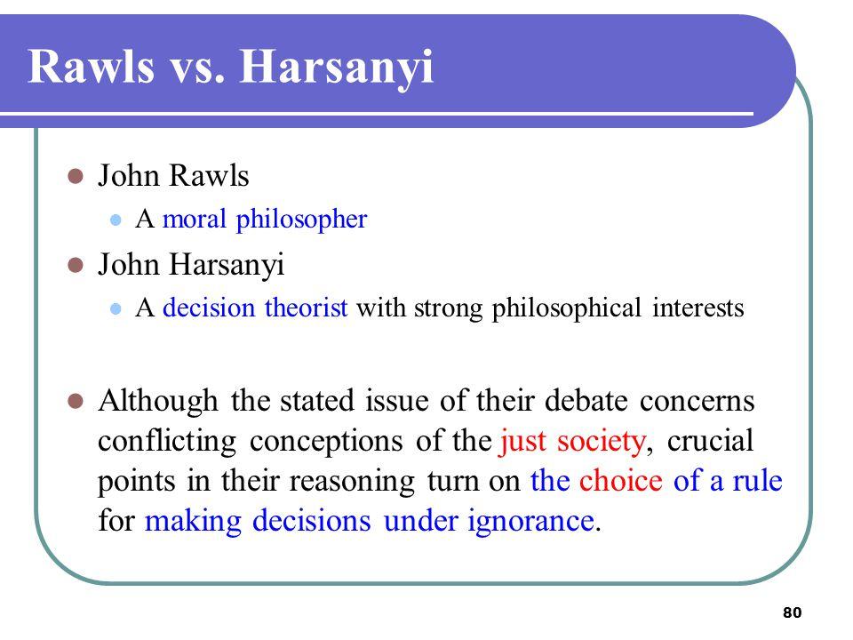 Rawls vs. Harsanyi John Rawls John Harsanyi