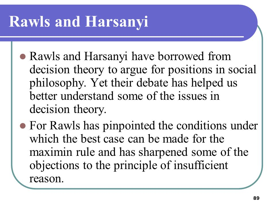 Rawls and Harsanyi