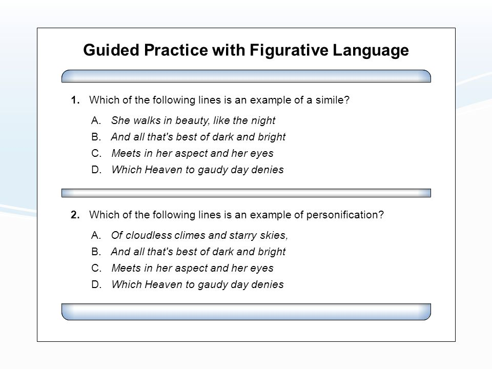 Guided Practice with Figurative Language