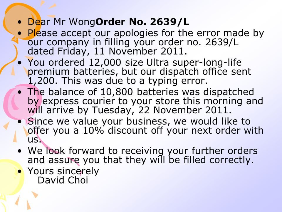 Dear Mr WongOrder No. 2639/L