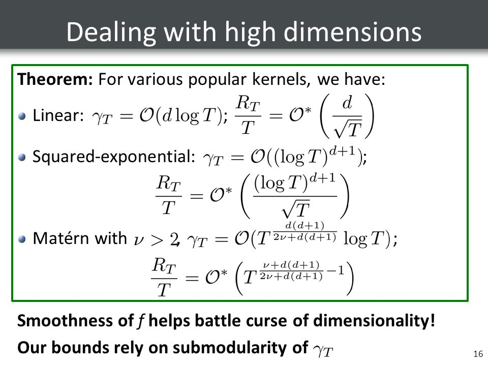 Dealing with high dimensions