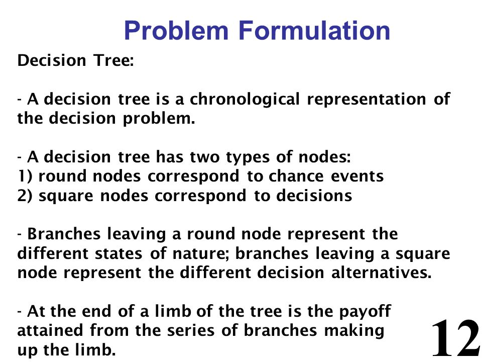 Problem Formulation Decision Tree: