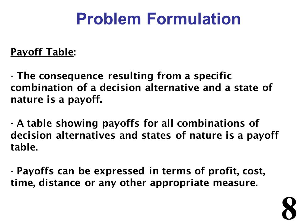 Problem Formulation Payoff Table:
