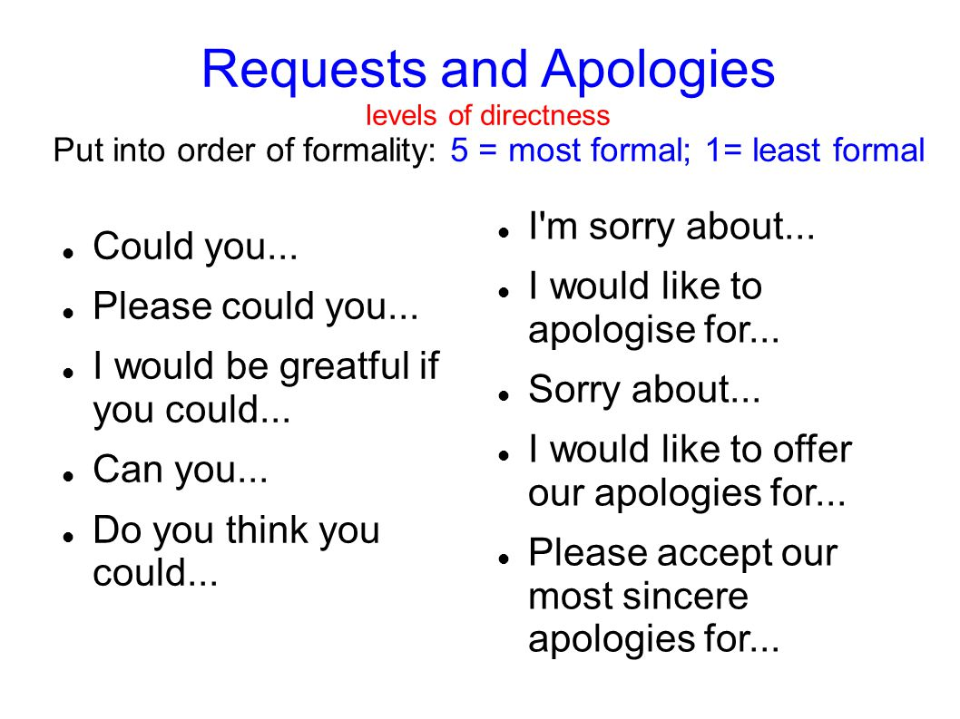 Requests and Apologies levels of directness Put into order of formality: 5 = most formal; 1= least formal