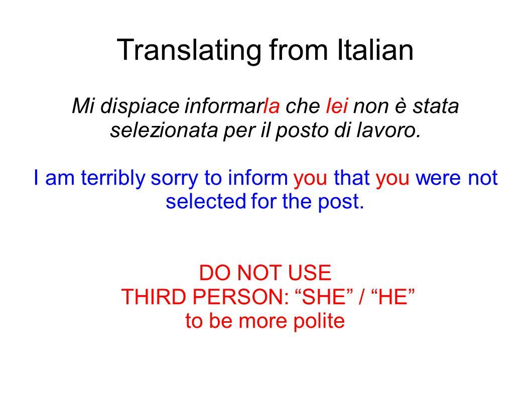 Translating from Italian