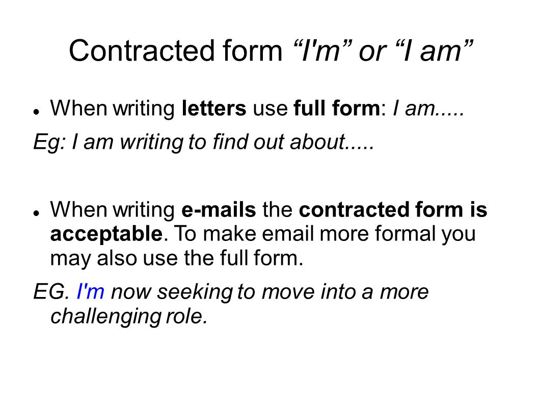 Contracted form I m or I am