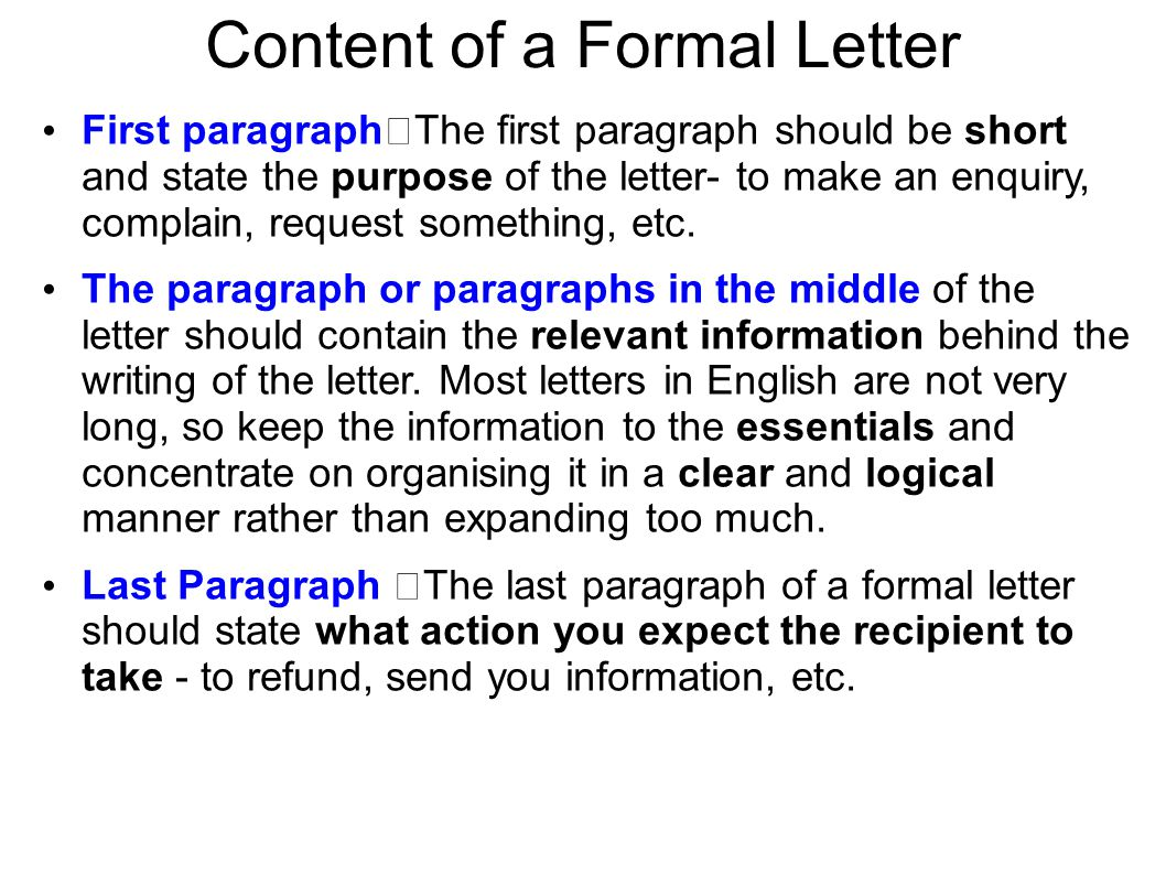 Content of a Formal Letter