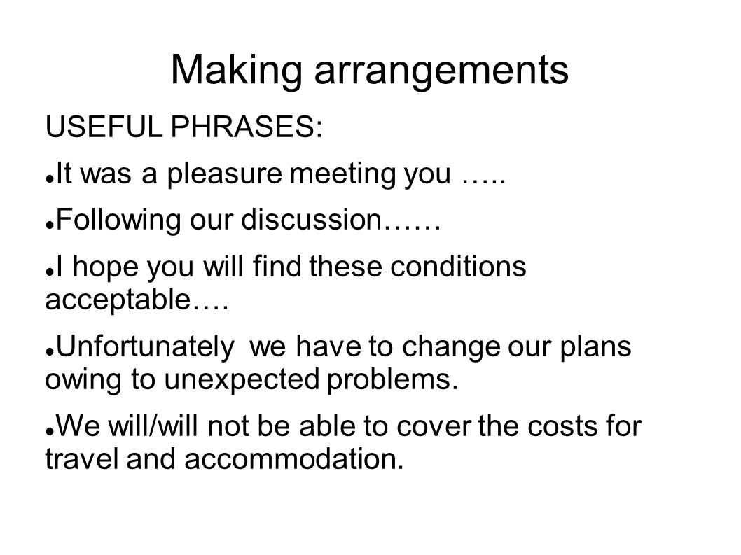 Making arrangements USEFUL PHRASES: It was a pleasure meeting you …..
