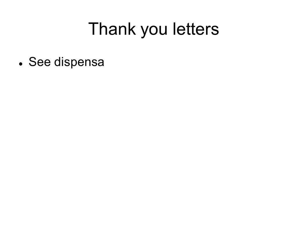 Thank you letters See dispensa 39