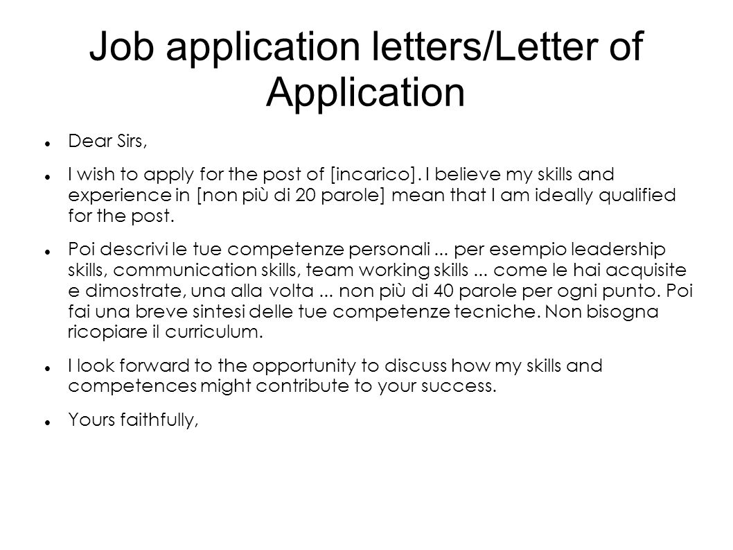 business letters for job application What this handout is about this handout will help you write business letters required in many different situations, from applying for a job to requesting or delivering information.