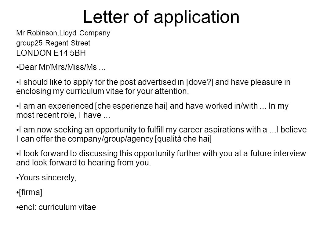 Letter of application LONDON E14 5BH Dear Mr/Mrs/Miss/Ms ...