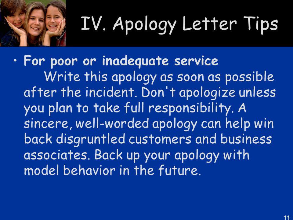 IV. Apology Letter Tips
