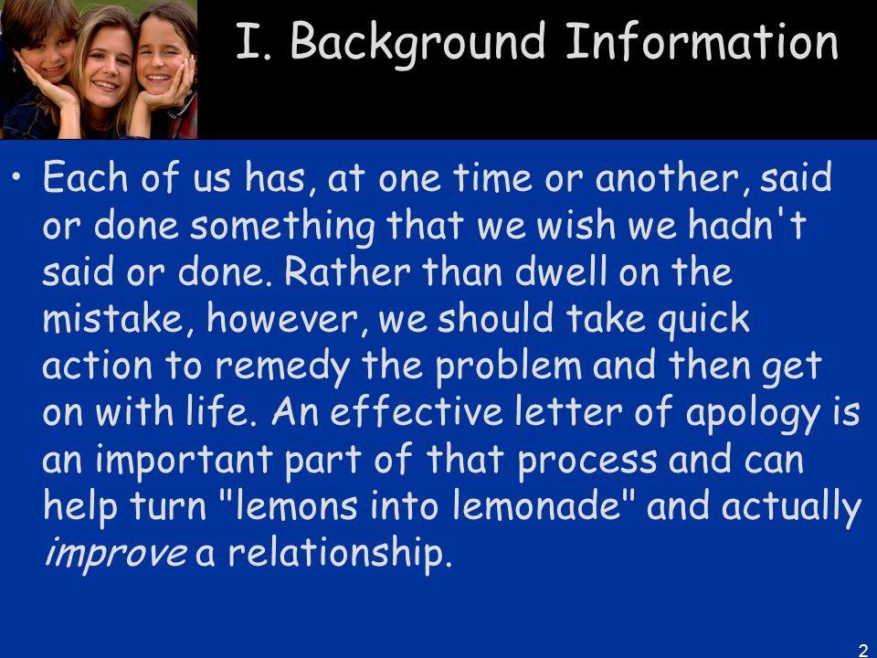 I. Background Information