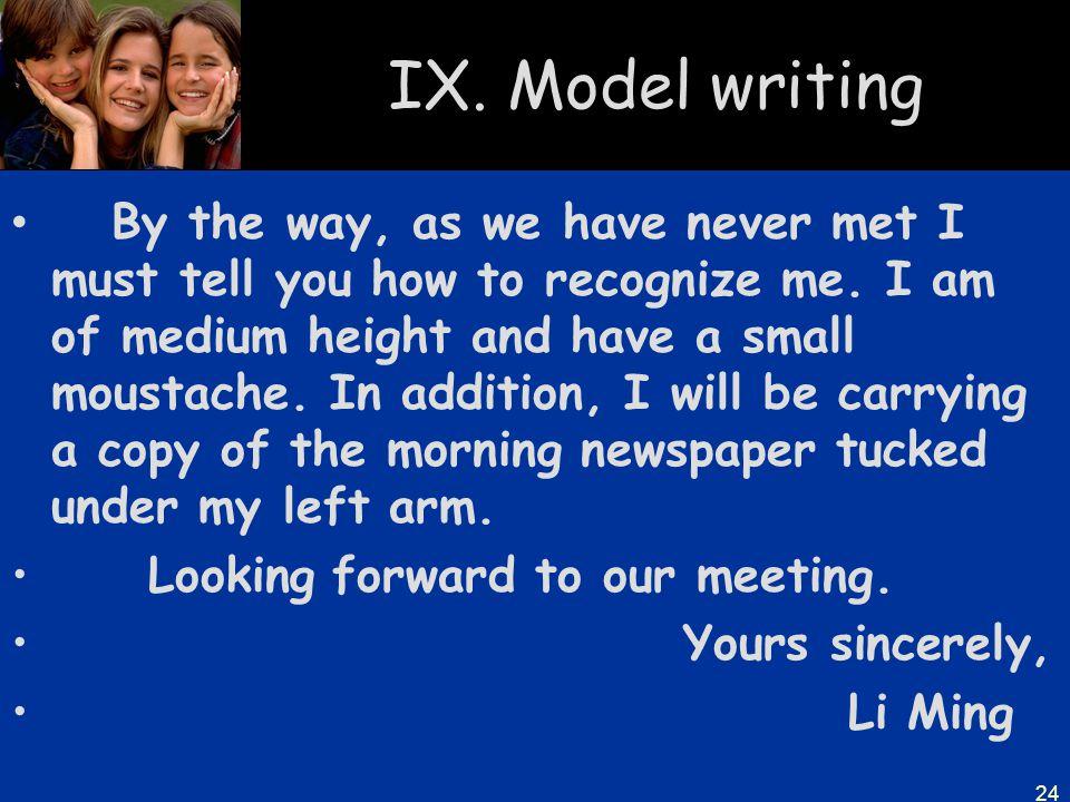 IX. Model writing