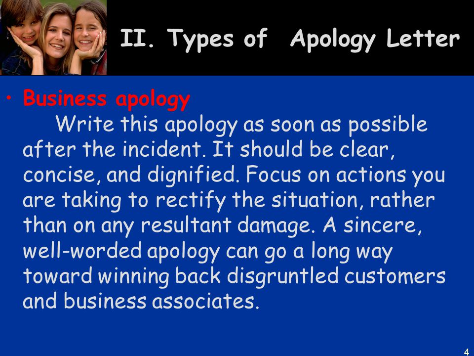 II. Types of Apology Letter