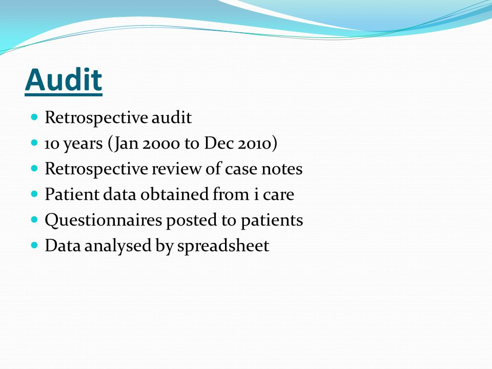 Audit Retrospective audit 10 years (Jan 2000 to Dec 2010)