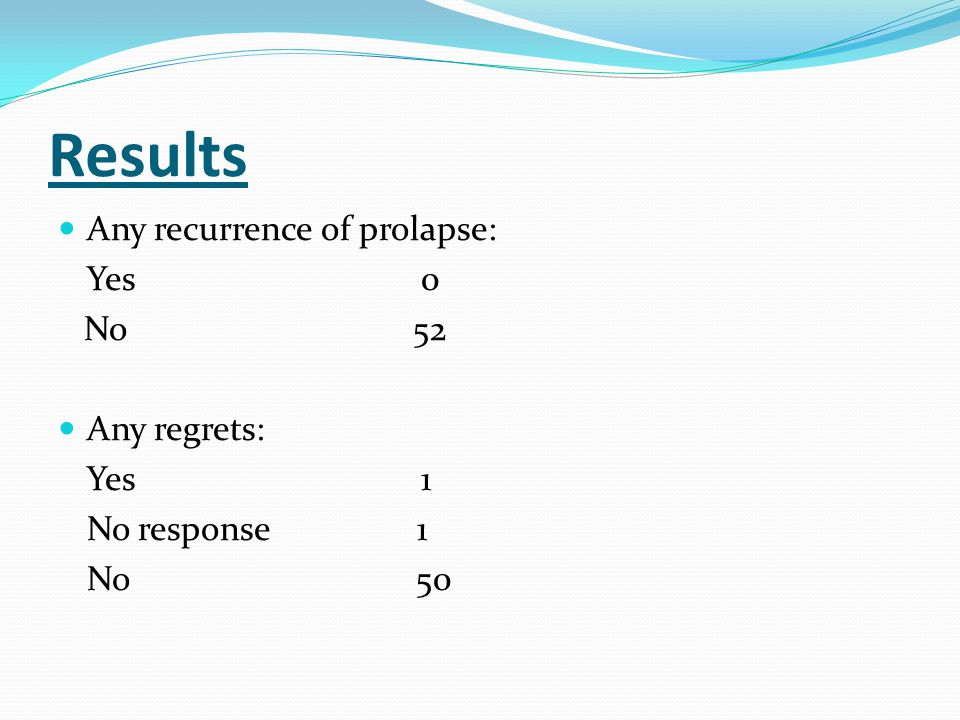Results Any recurrence of prolapse: Yes 0 No 52 Any regrets: Yes 1