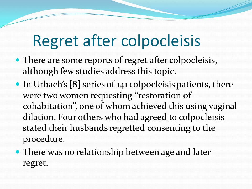Regret after colpocleisis