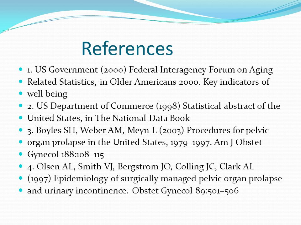 References 1. US Government (2000) Federal Interagency Forum on Aging
