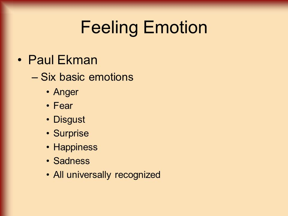 Feeling Emotion Paul Ekman Six basic emotions Anger Fear Disgust