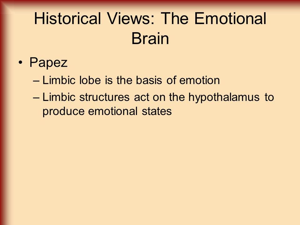 Historical Views: The Emotional Brain