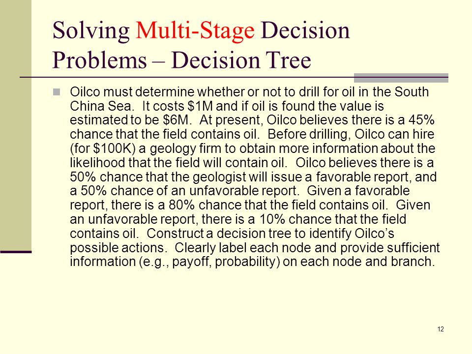 Solving Multi-Stage Decision Problems – Decision Tree