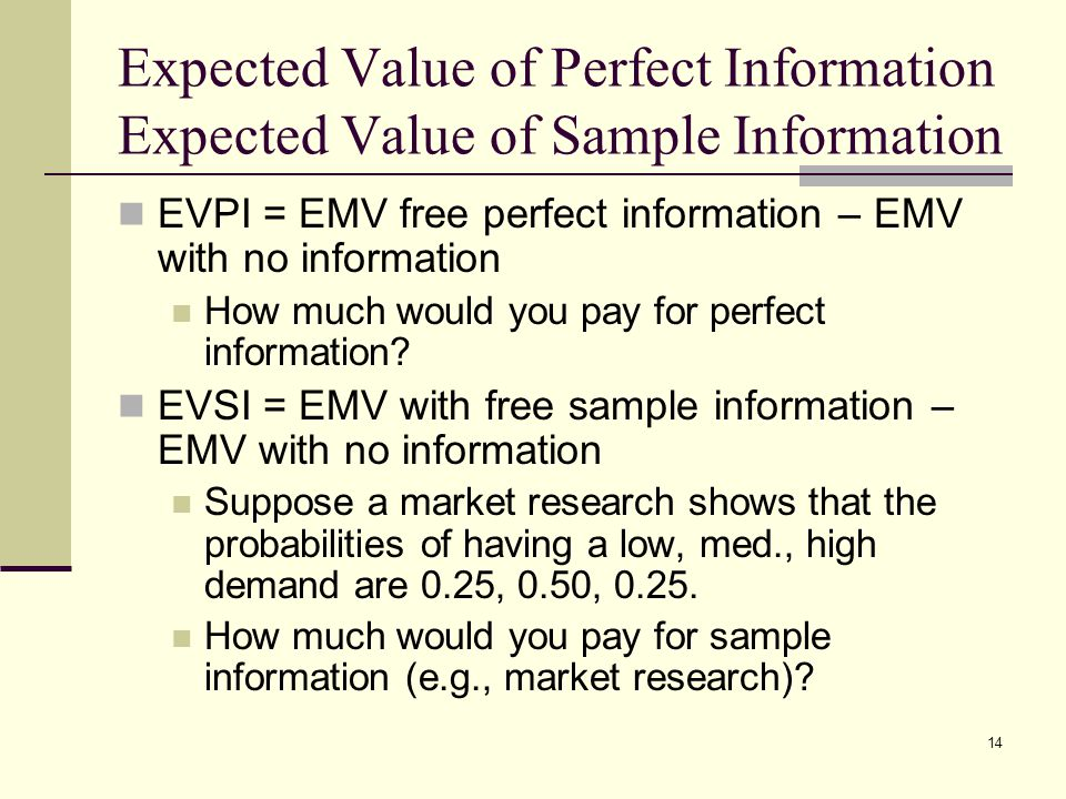 Expected Value of Perfect Information Expected Value of Sample Information