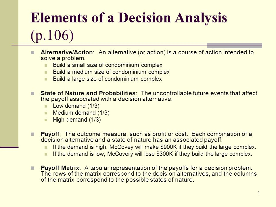 Elements of a Decision Analysis (p.106)