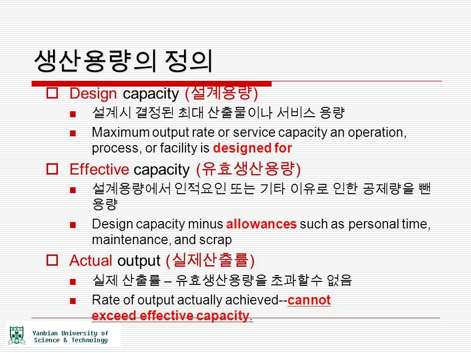 생산용량의 정의 Design capacity (설계용량) Effective capacity (유효생산용량)