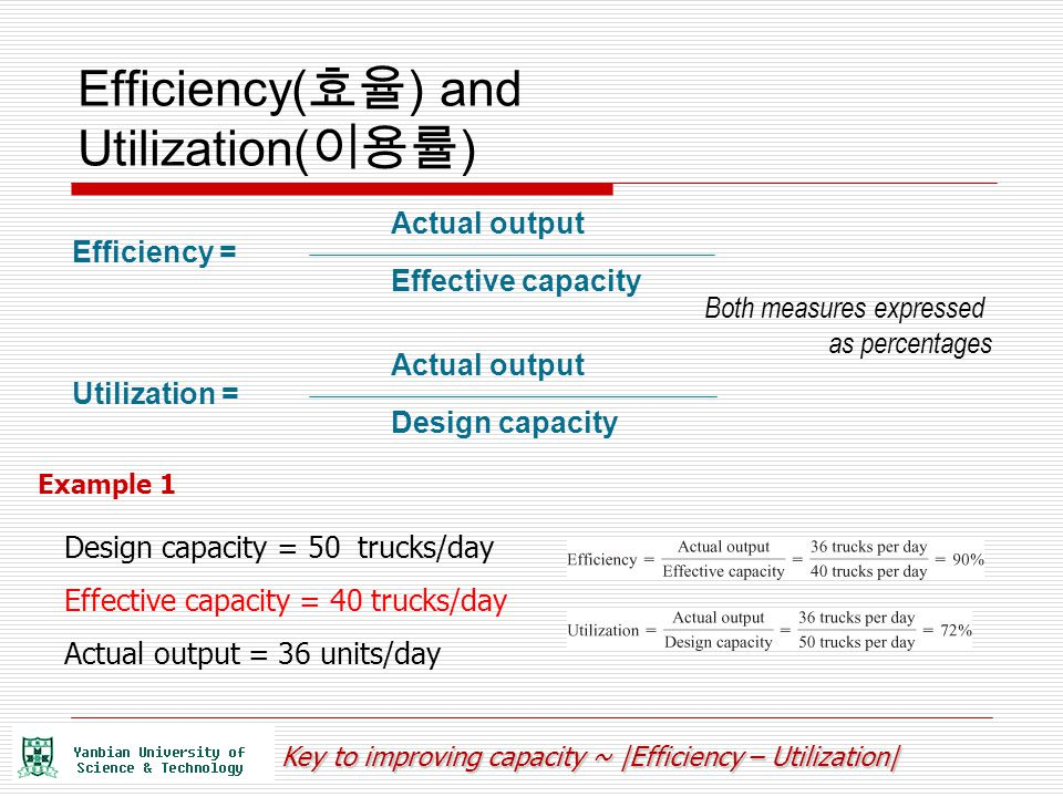 Efficiency(효율) and Utilization(이용률)