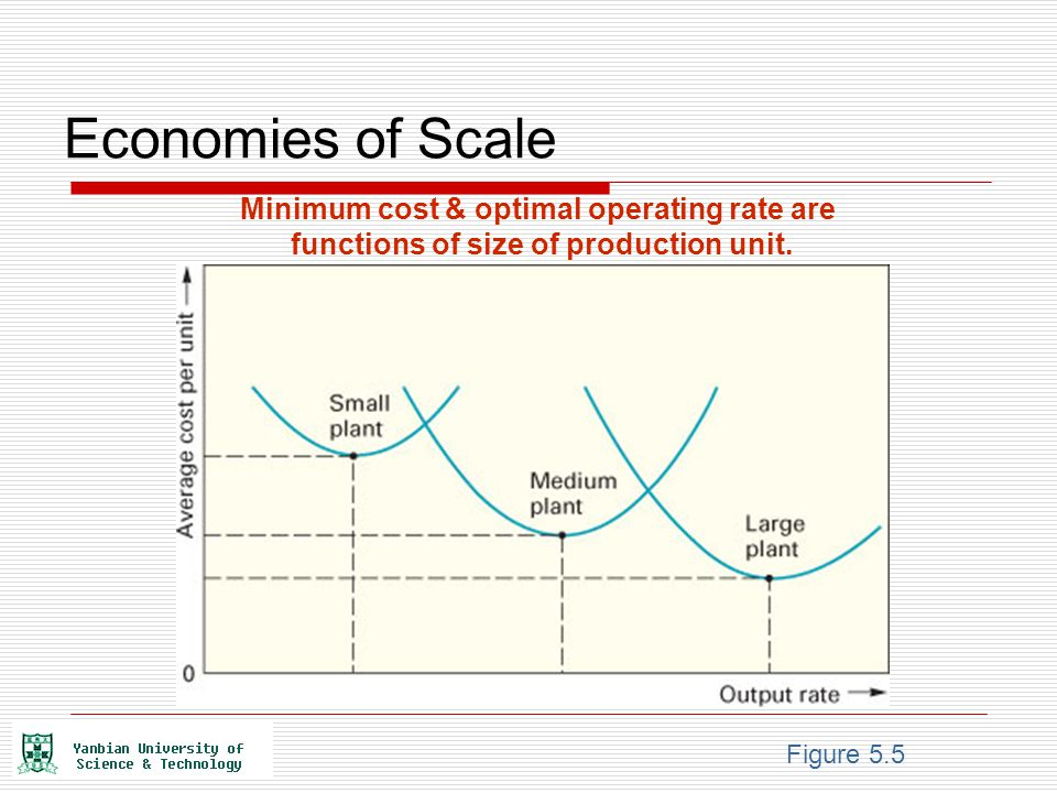 Economies of Scale Minimum cost & optimal operating rate are