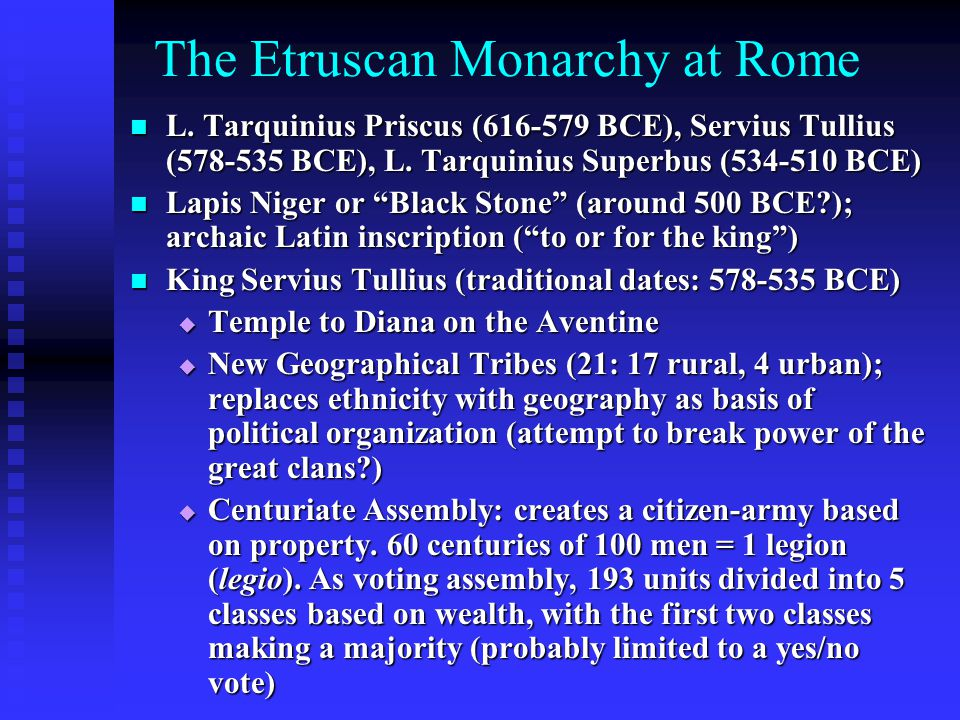 The Etruscan Monarchy at Rome