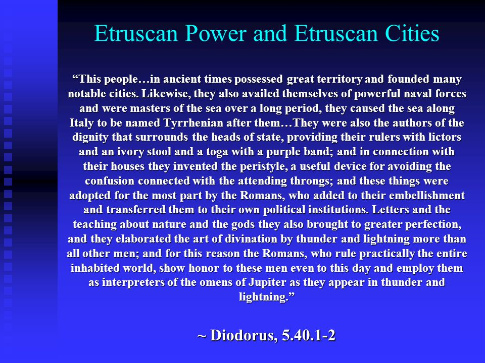 Etruscan Power and Etruscan Cities