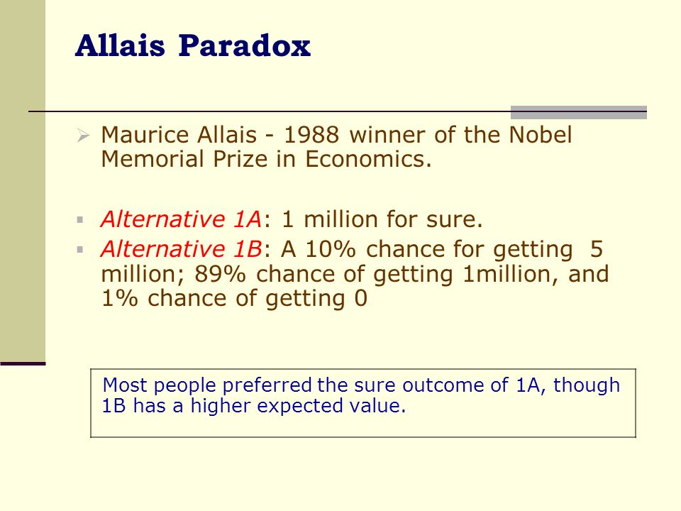 Allais Paradox Maurice Allais - 1988 winner of the Nobel Memorial Prize in Economics. Alternative 1A: 1 million for sure.