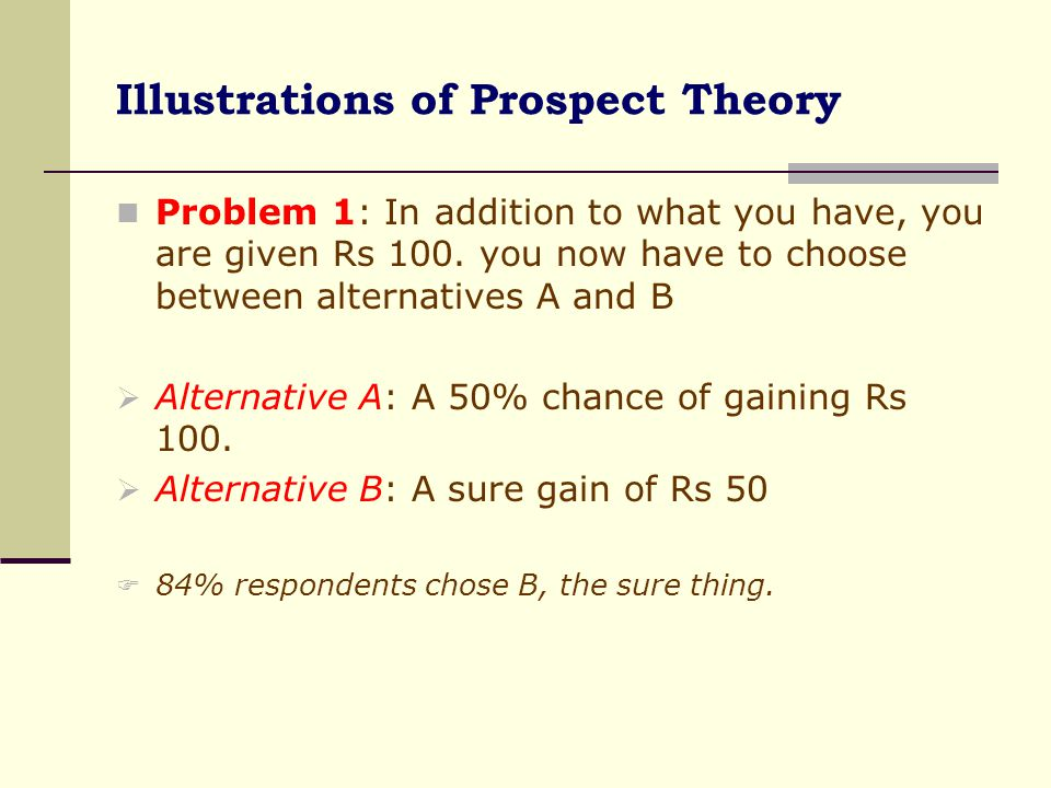 Illustrations of Prospect Theory