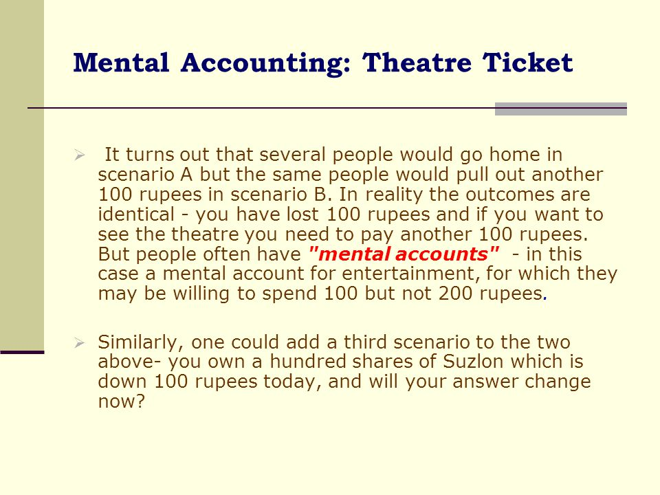 Mental Accounting: Theatre Ticket