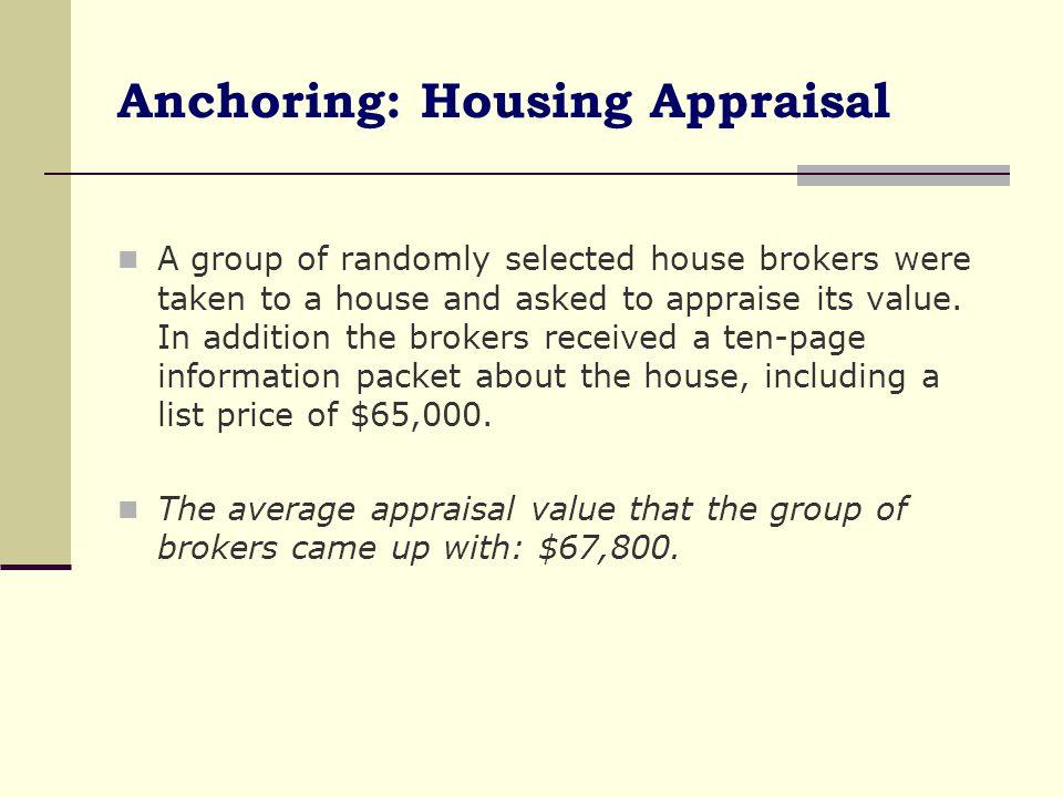 Anchoring: Housing Appraisal