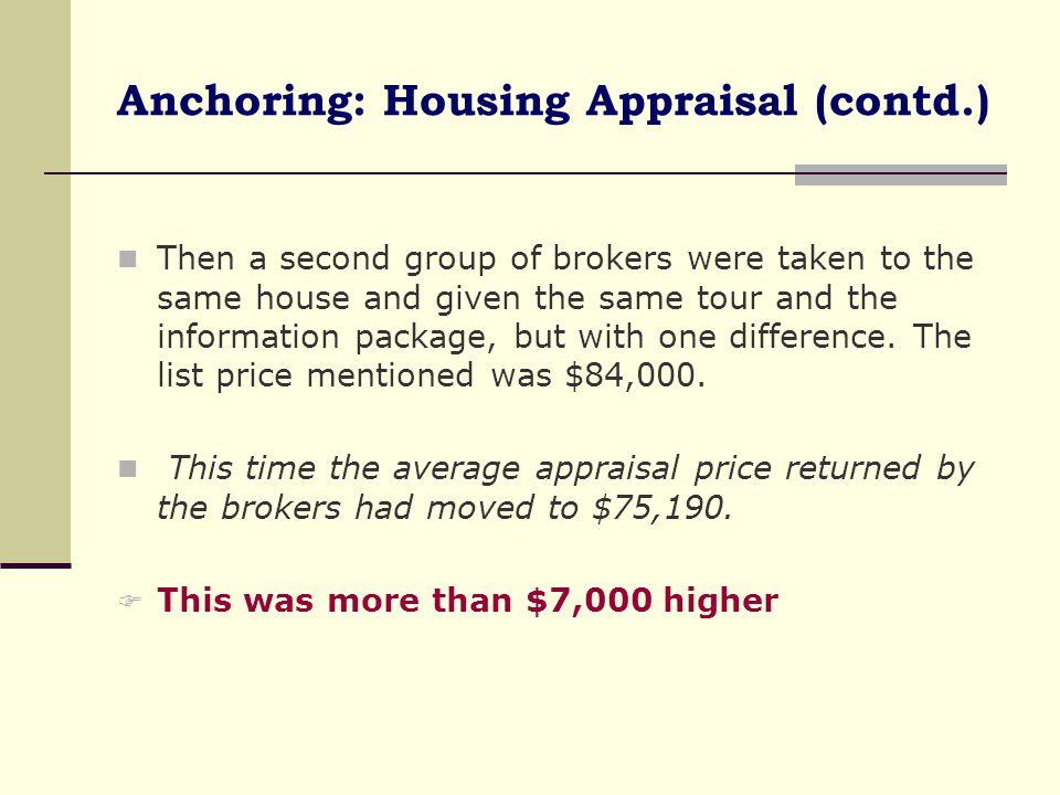 Anchoring: Housing Appraisal (contd.)